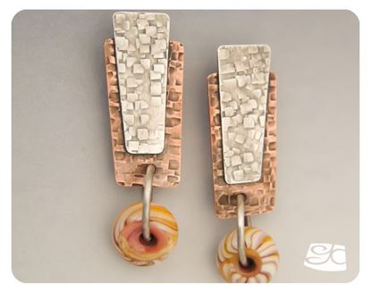 Picture of Reverse texture Copper and silver earrings DIY Tutorial