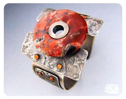 Picture of Reticulated Silver Cuff with Natural Stone Donut Focal DIY PDF Tutorial