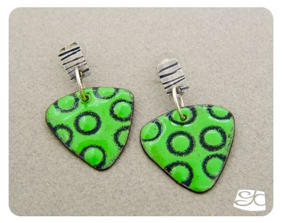Picture of Sterling silver, bright green and black, torch fired enamel earrings
