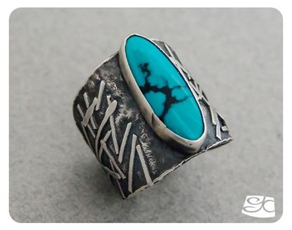 Picture of Sterling Silver & turquoise fused saddle rings