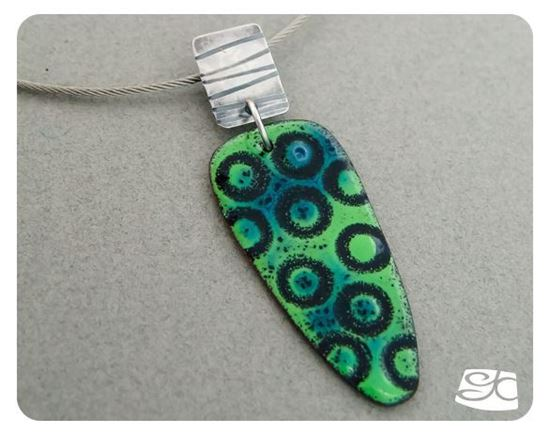 Picture of Sterling silver and bright green and black torch fired enamel pendant