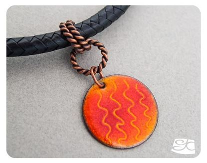 Picture of Enamel pendant & copper bail leather cord.