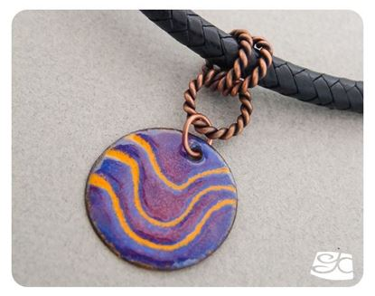 Picture of Enamel pendant & copper bail leather cord