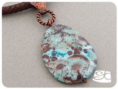 Picture of Handmade Artisan Mushroom jasper pendant with copper bail  leather cord.