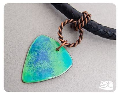 Picture of Handmade Artisan Torch fired enamel pendant in aqua, mint and blue.