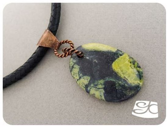 Picture of Handmade Artisan yellow turquoise pendant with copper bail