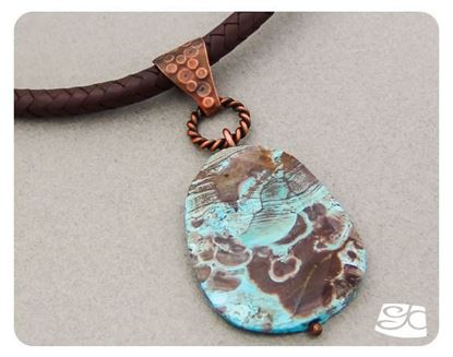 Picture of Handmade Artisan Mushroom jasper pendant with copper bail - 2