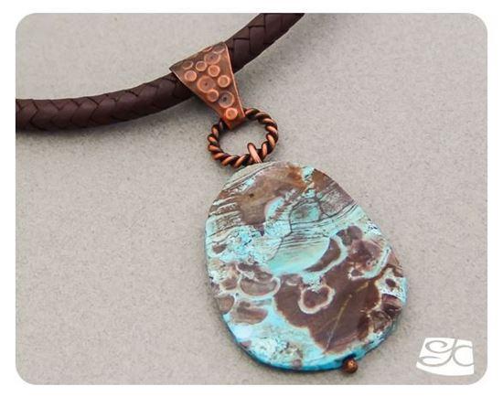 Picture of Handmade Artisan Mushroom jasper pendant with copper bail - 2