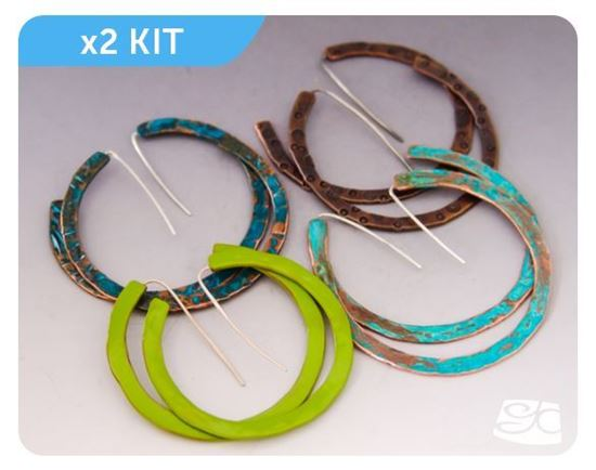 "Picture of DIY JEWELRY KIT 1:           2 pairs of Silver/Copper components plus 1 Digital Tutorial. ""Silver and Copper No Solder Large Hoop Earring"". FREE SHIPPING."